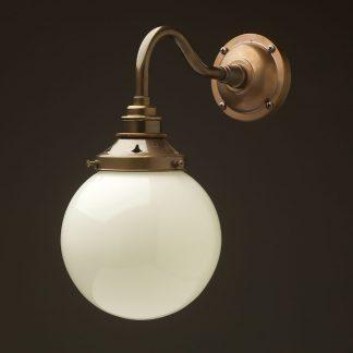 Brass 150mm opal glass shade wall light