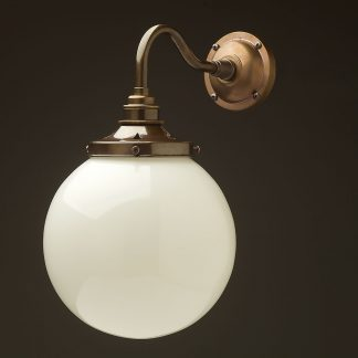 Brass 200mm opal glass shade wall light