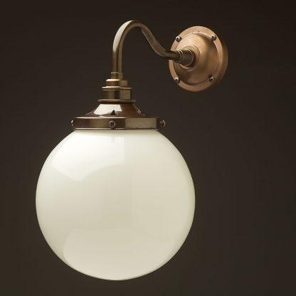 Brass 200mm opal glass shade wall light
