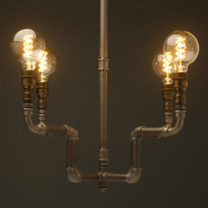 Plumbing PPlumbing Pipe 4 bulb formal chandelier raw steel antique brassipe 4 bulb formal chandelier