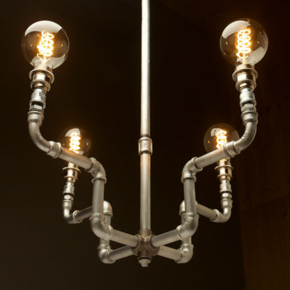Plumbing Pipe 4 bulb formal chandelier galvanised and nickel
