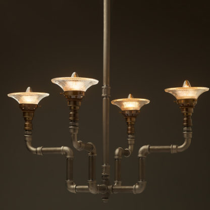 Plumbing Pipe 4 bulb formal chandelier small holophane