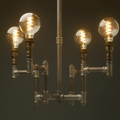 Plumbing Pipe 4 bulb industrial chandelier
