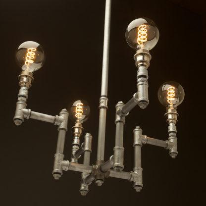 Plumbing Pipe 4 bulb industrial chandelier galvanised
