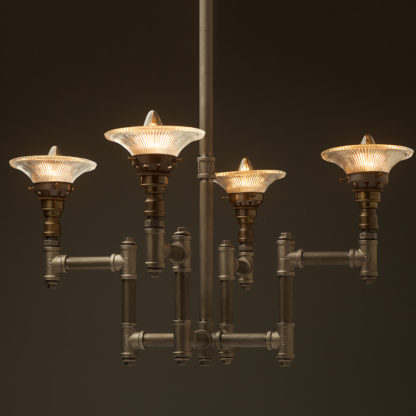 Plumbing Pipe 4 bulb industrial chandelier glass shades
