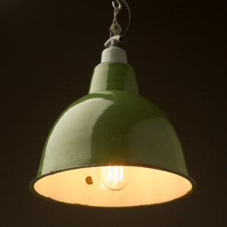 360mm Vintage Green Enamel Factory Dome shade