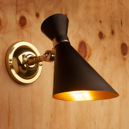 Polished brass adjustable black 50's cone wall light