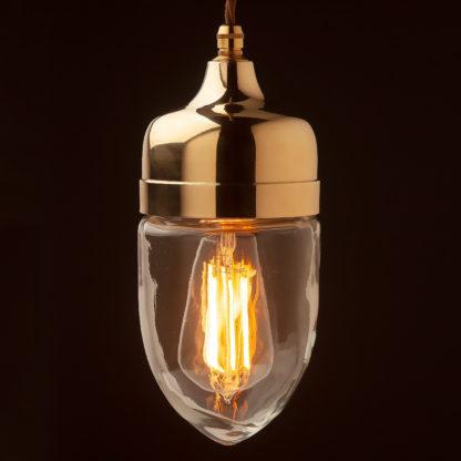 Polished cast brass glass pendant