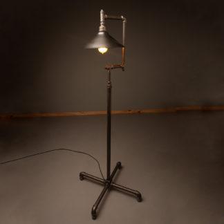Metal shade plumbing pipe floor lamp antiqued steel