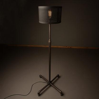 Plumbing-pipe-standard-lamp-raw-steel-black-shade