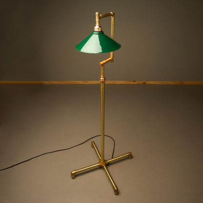 Multi shade solid brass plumbing pipe floor lamp