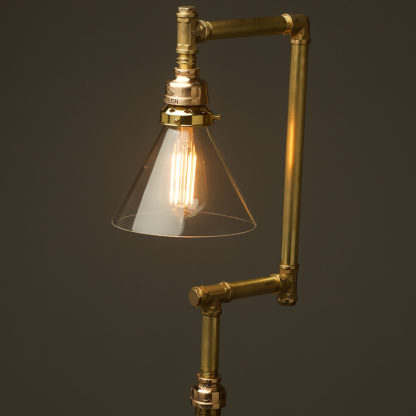 Multi-shade-solid-brass-plumbing-pipe-floor-lamp-clear-cone