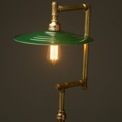 Multi-shade-solid-brass-plumbing-pipe-floor-lamp-green-barracks