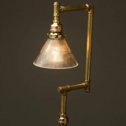 Multi-shade-solid-brass-plumbing-pipe-floor-lamp-holophane-cone