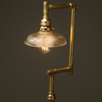 Multi-shade-solid-brass-plumbing-pipe-floor-lamp-holophane-dish