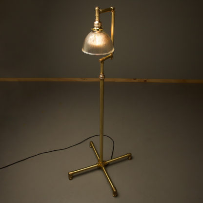 Multi shade solid brass plumbing pipe floor lamp Holophane dome