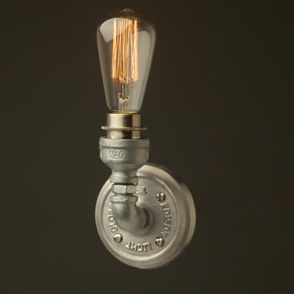 Small plumbing pipe single globe wall light galvanised