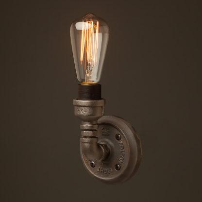 Small plumbing pipe single globe wall light