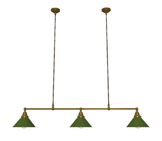 Brass 1024mm Edison billiard table pendant antiqued green coolie