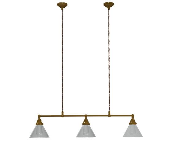 Brass 820mm Edison billiard table pendant clear cone shades