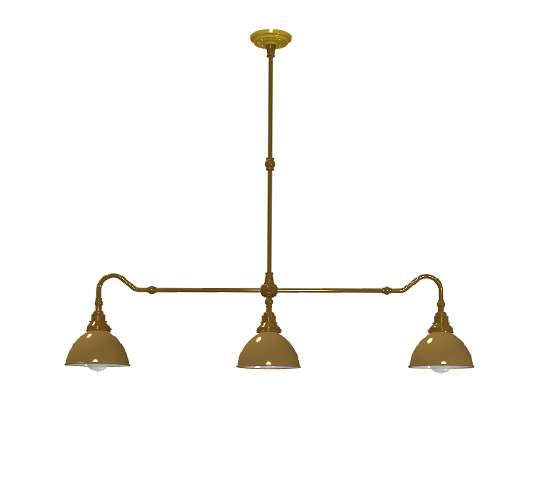 Antique brass single drop billiard table light brass dome shades