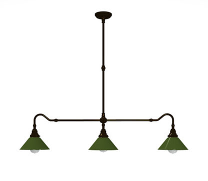 Bronze single drop billiard table light antique green shades