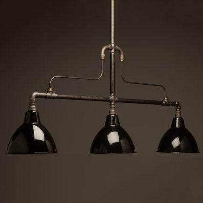 Large braced plumbing pipe billiard table light black shades