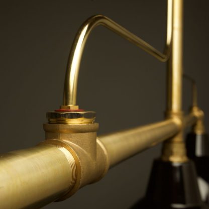 Large brass plumbing pipe billiard table light detail