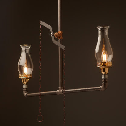 Replica plumbing pipe gas light with dimming tap