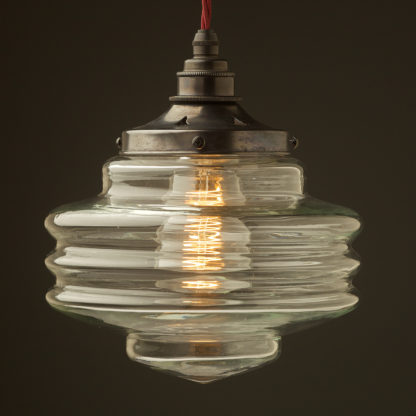 200mm clear glass schoolhouse shade pendant bronze