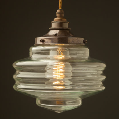 200mm clear glass schoolhouse shade pendant antique brass