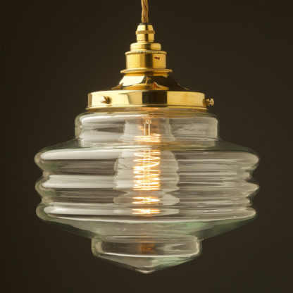 200mm clear glass schoolhouse shade pendant new brass