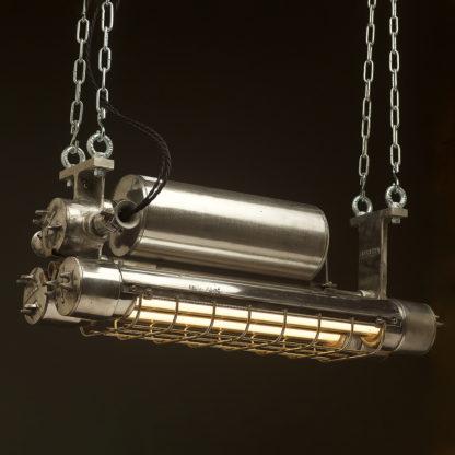 750mm Vintage polished aluminium explosion proof twin tube light