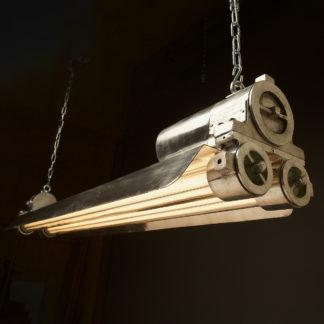 Long Flame proof cast aluminium vintage twin tube light
