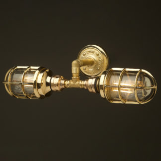 Outdoor solid brass plumbing pipe twin bunker cage wall light