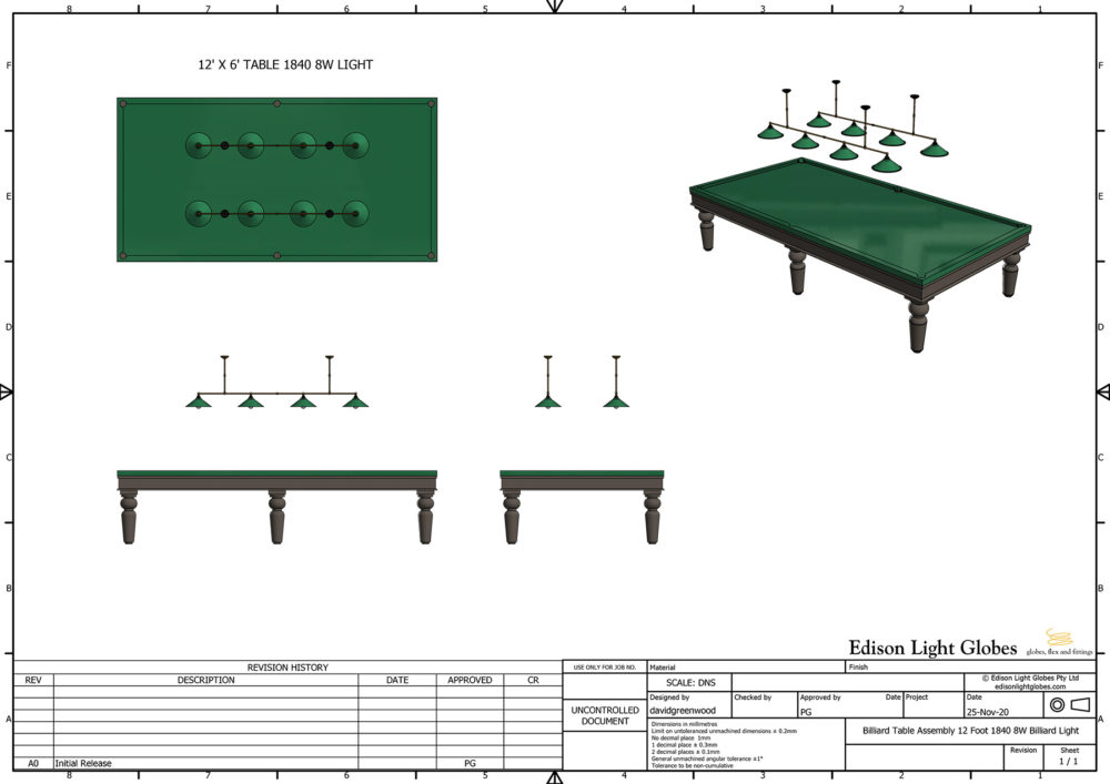 12' x 6' table with double 1840mm 4 lamp lights