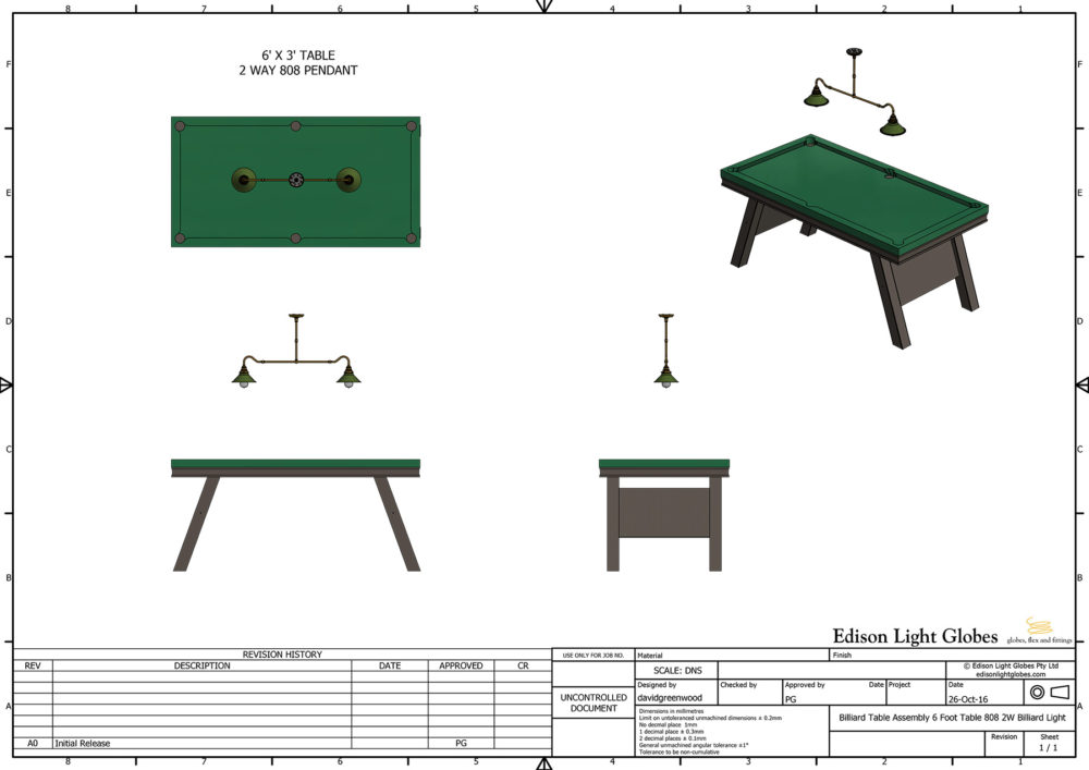 6 x 3 table with single 2 lamp 808mm light
