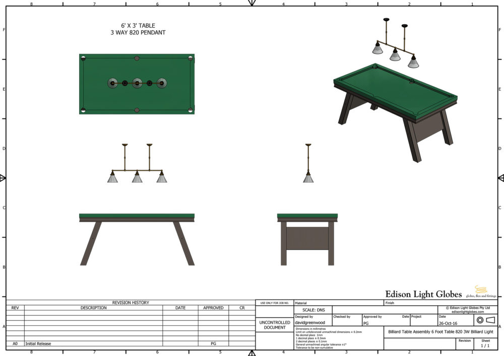 6? x 3' table with single 3 lamp 820mm light