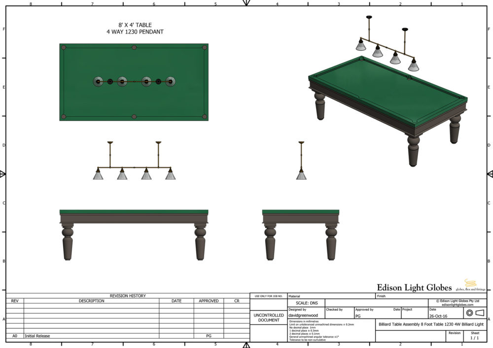 8' X 4' table with one 4 lamp 1230mm billiard table light