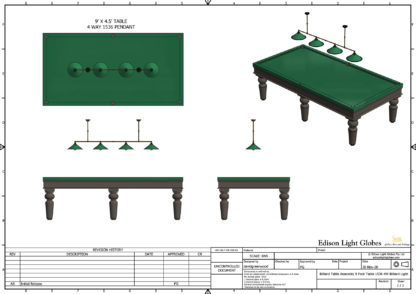 """9' x 4' 6"""" table with single 1536mm 4 lamp light"""