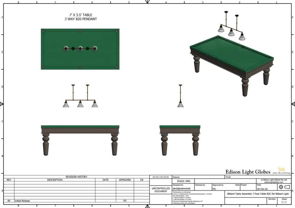 7 Foot Table 820 3W Billiard Light