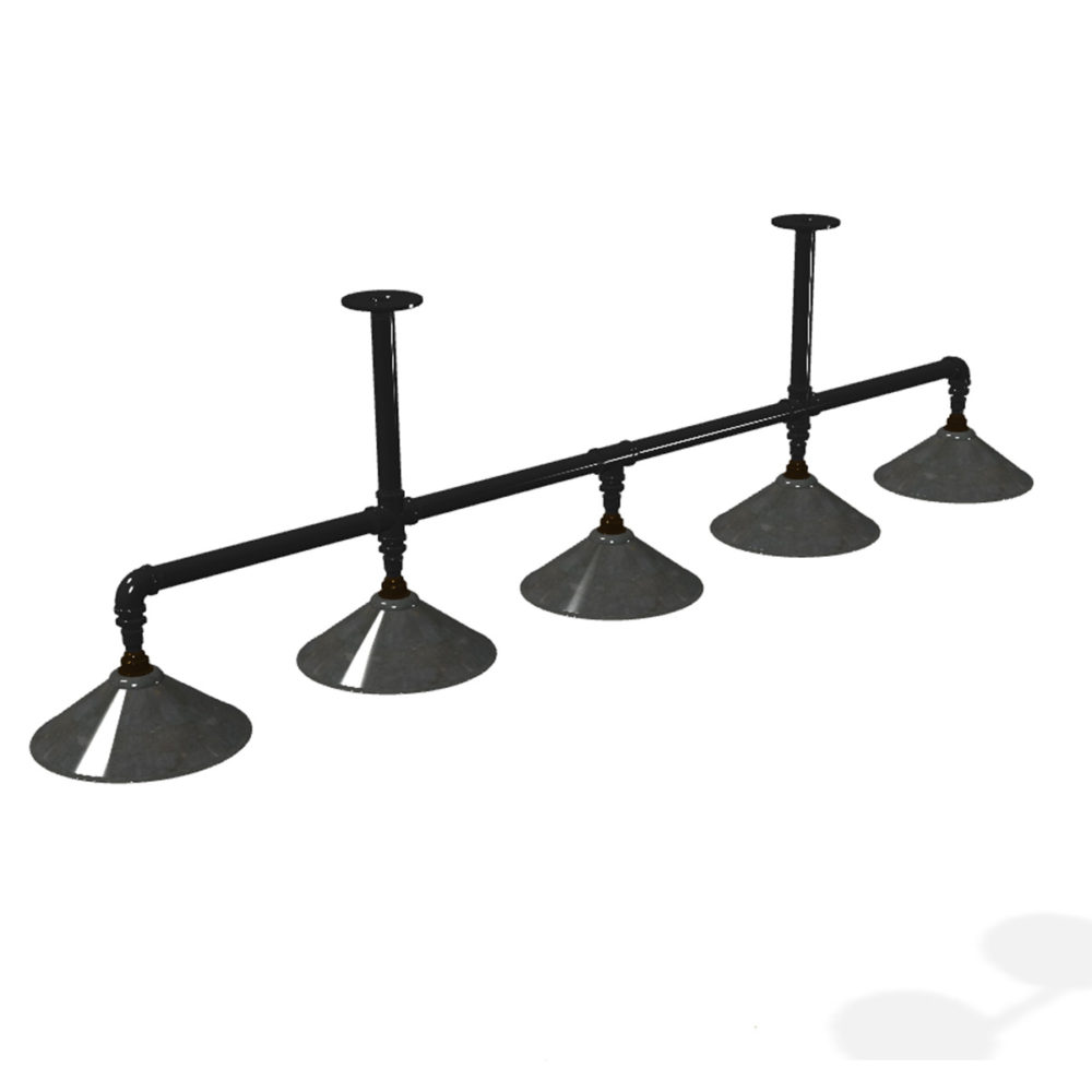 Galvanised plumbing pipe large shade long table light Black