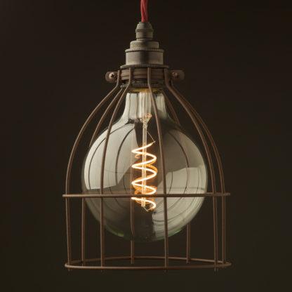 Large Rusty powder coat Light bulb cage fitting