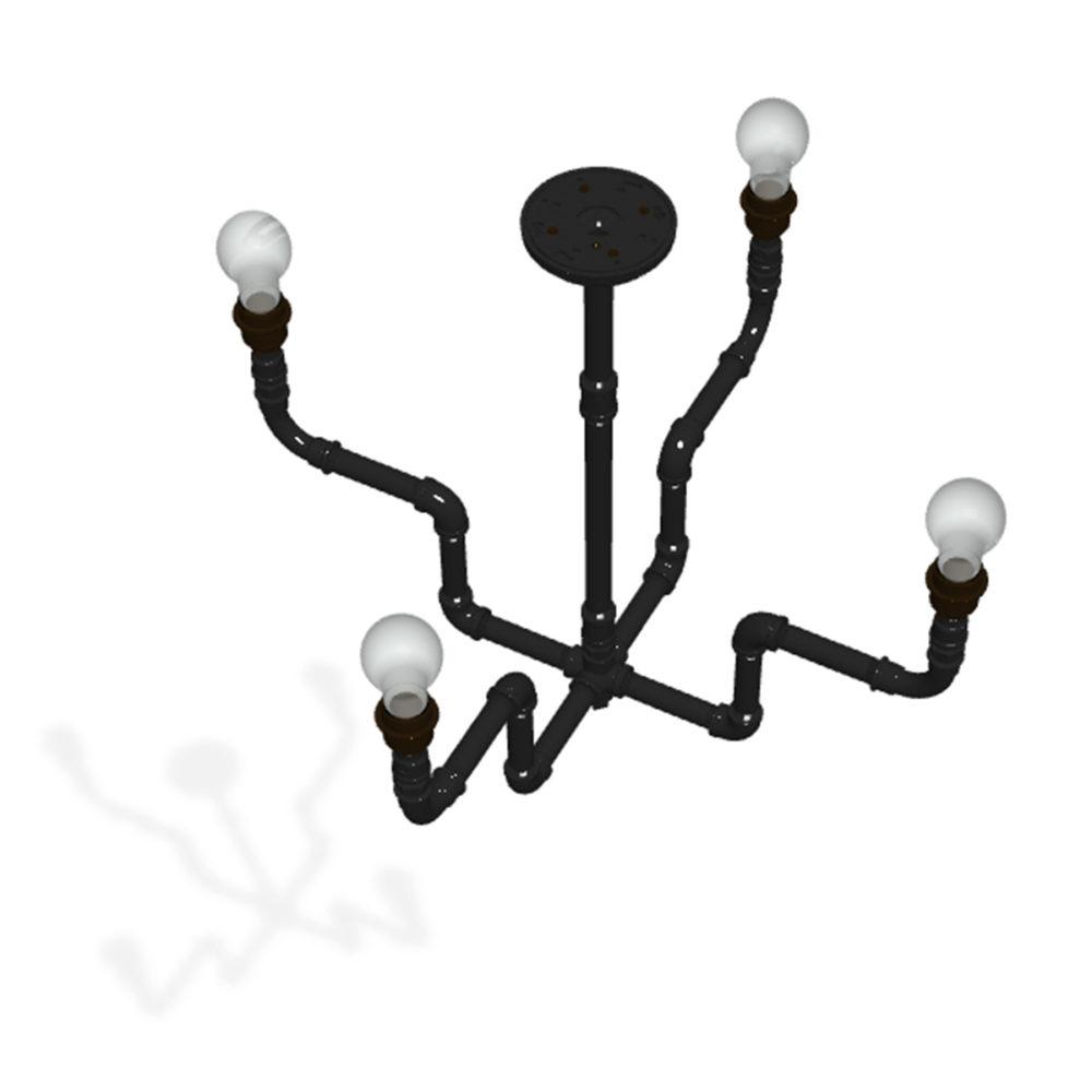 Plumbing Pipe 4 bulb formal chandelier flat black