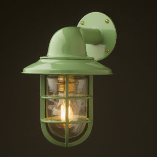 Vintage Ship Powder coated Shaded Bulkhead Wall Light pale green