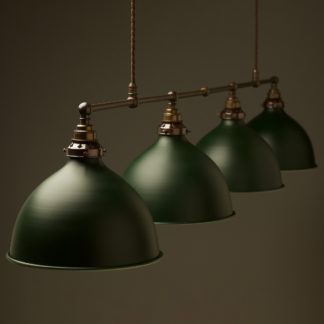Vintage Edison Extra Long Billiard Table Pendant antiqued green domes 270mm
