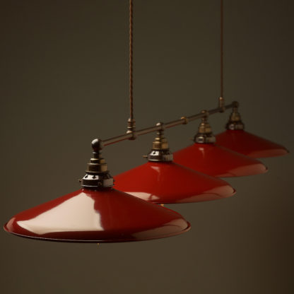 Vintage Edison Extra Long Billiard Table Pendant 14 inch red