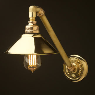 Angled solid brass plumbing pipe wall shade lamp