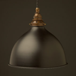 Flat black 270mm dome pendant antique brass hardware