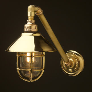 Outdoor angled solid brass plumbing pipe wall shade lamp
